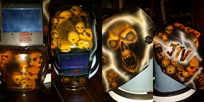 skulls welding helmet orange lightning