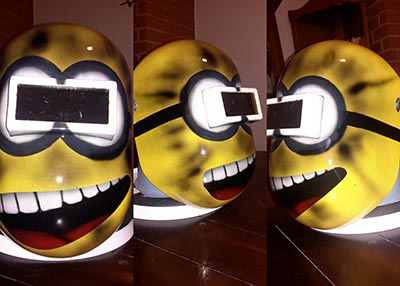 exploding minion custom painted pipeliner welding helmet