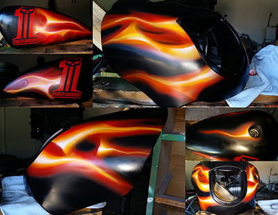 harley custom paint tank and fairing real flames and logo