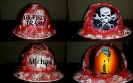 Red detailed oilfield trash hard hat with skull